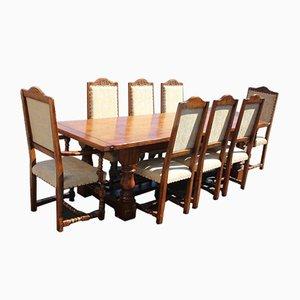 Esszimmertisch und Stühle aus Eiche, 1960er, 9er Set