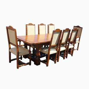 Oak Refectory Dining Room Table & Chairs, 1960s, Set of 9