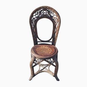 Geflochtener Beistellstuhl aus Rattan & Bugholz, 1920er