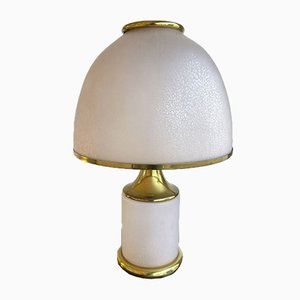 Large Italian Brass & Murano Glass Mushroom Lamp from La Murrina, 1970s