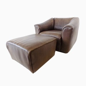 Model DS 47 Leather Chair & Ottoman from de Sede, Set of 2