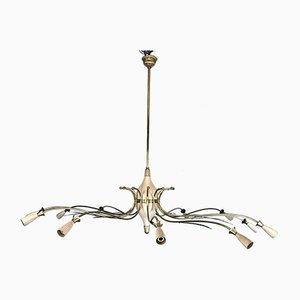 Lámpara de araña Spider italiana Mid-Century grande de latón atribuida a Oscar Torlasco de Lumi