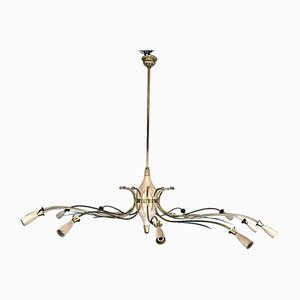 Large Mid-Century Italian Brass Spider Chandelier Attributed to Oscar Torlasco from Lumi