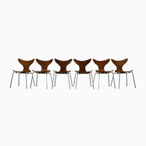 Dänische Seagull Esszimmerstühle von Arne Jacobsen für Fritz Hansen, 6er Set