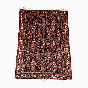 Kleiner orientalischer Vintage Malayer Teppich in Dunkelblau & Rot