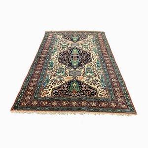 Vintage Silk Green, Red & Beige Afghan Khan Ersari Rug