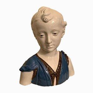 Canasta de busto masculino de porcelana y esmalte