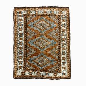 Alfombra turca vintage en azul, marrón y beige