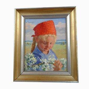 Bela Hradil, Girl with Cherry Blossom, óleo sobre tabla