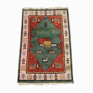 Vintage Turkish Handwoven Green & Red Tribal Gabbeh Carpet