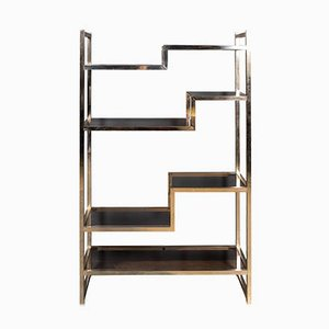 20th Century Italian Brass & Smokey Glass Etagere Shelves, 1970s