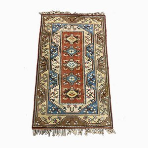 Vintage Turkish Blue, Beige & Rust Milas Ushak Carpet