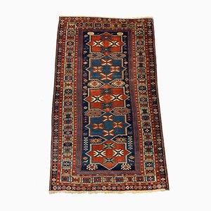 Mittelgroßer antiker kaukasischer Woll Shirvan Teppich in Blau & Rost