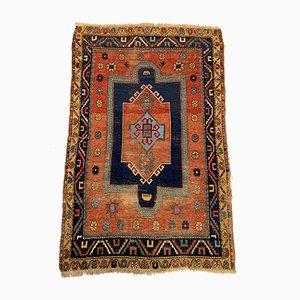 Medium Antique Caucasian Gold, Blue & Rust Fachralo Kazak Carpet