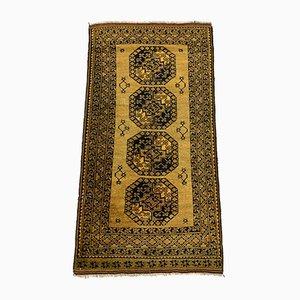 Medium Vintage Afghan Tribal Teppich in Gold & Schwarz aus Wolle