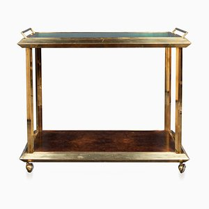 20th Century Italian Polished Brass & Burr Walnut Drinks Trolley, 1970s