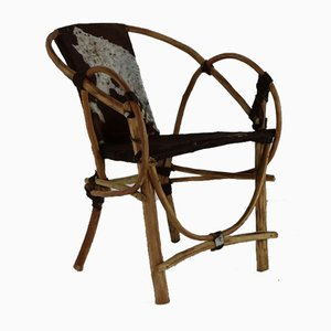 Handgemachte Armlehnstühle mit Sitz & Rückenlehne aus Kuhfell, 4er Set