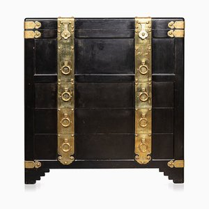 20th Century Chinese Ebonised Chest of Drawers with Top Lid, 1940s