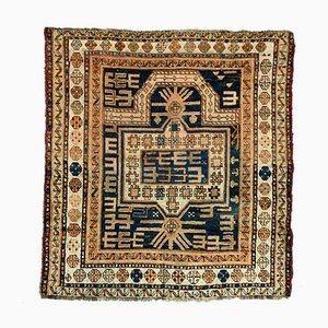 Medium Antique Caucasian Square Gold, Blue & Rust Dagestan Kazak Rug