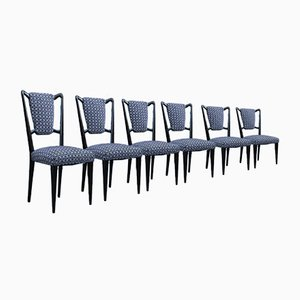 Borsani Style Italian Mahogany and Fabric Chairs, Set of 6