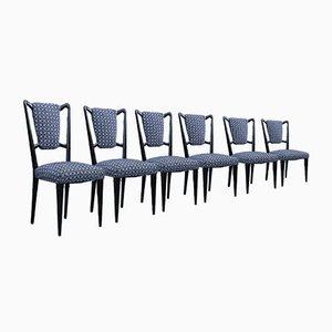 Sedie in stile Borsani in mogano e stoffa, Italia, set di 6