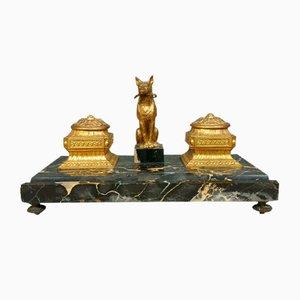 Napoleon III Tintenfass aus Bronze & Marmor