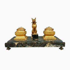 Juego de tinteros Napoleon III de bronce y mármol. Juego de 3