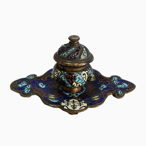 Bronze and Enamel Cloisonné Inkwell