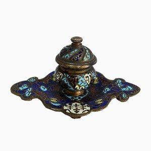 Cloisonné Tintenfass aus Bronze und Emaille