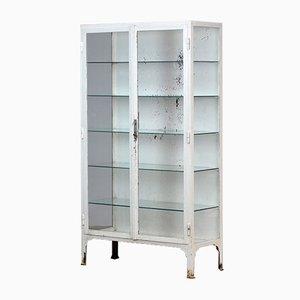 Mueble médico vintage de hierro y vidrio, años 40
