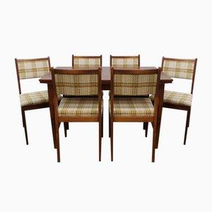 Mesa de comedor y seis sillas, años 60 o 70. Juego de 7