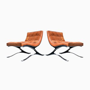 Italian Steel and Leather Armchairs from Pizzetti, 1970s, Set of 2