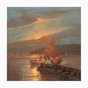 Fischer in der Morgendämmerung, 20. Jahrhundert, signierte Meereslandschaft