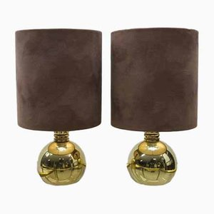 Brass Table Globe Lights, 1960s, Set of 2