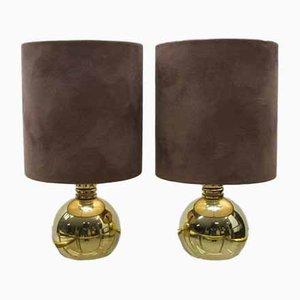 Kugelförmige Messing Tischlampen, 1960er, 2er Set