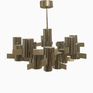 Lámpara de araña de acero y aluminio de Gaetano Sciolari