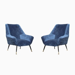 Italian Blue Velvet Lounge Chairs with Brass Feet, Set of 2