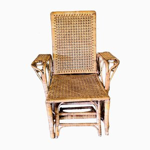 Vintage Braided Rattan Lounge or Deck Chair