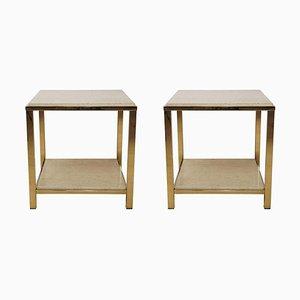 Tables d'Appoint en Travertine et Or 24 Carats de Belgo Chrom / Dewulf Selection, Set de 2