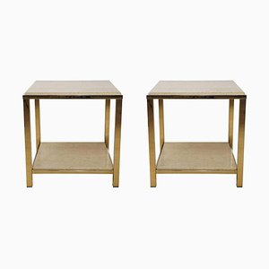 Travertine & 24kt Gold Side Tables from Belgo Chrom / Dewulf Selection, Set of 2