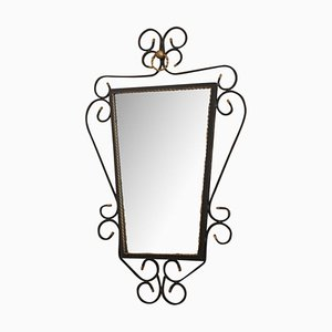 Specchio con struttura in ferro battuto nero, anni '50