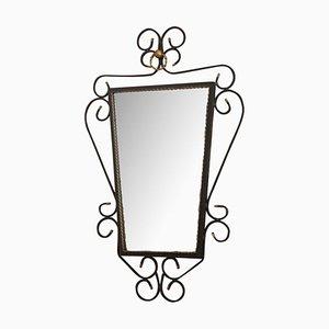 Spiegel mit schwarzer Schmiedeeisen Struktur, 1950er