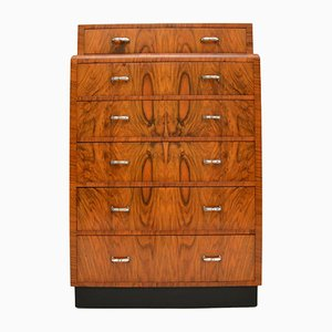 Art Deco Figured Walnut Chest of Drawers, 1930s