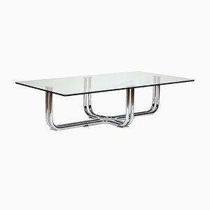 Italienischer Vintage Tisch aus Metall & Chrom mit Glasplatte im Stil von Gianfranco Frattini von Cassina, 1970er