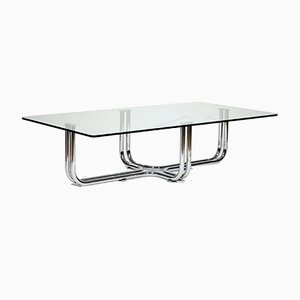 Vintage Italian Metal Chrome and Glass Table in the Style of Gianfranco Frattini from Cassina, 1970s
