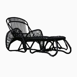 Rattan Lounge Chair with Ottoman, Set of 2