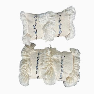 Moroccan Handira / White Wedding Pillow Covers - A Pair, 1990s