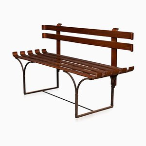 English Walnut & Iron Slat Bench, Circa 1960