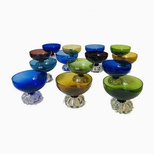 Champagnerschalen aus Kristallglas von Seda Sweden, 1960er, 14er Set