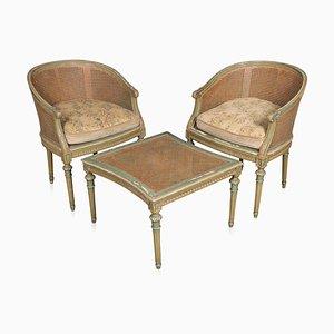 Sofá cama Duchesse Brisée seccional / chaise longue, alrededor de 1920. Juego de 3